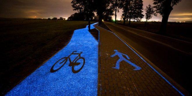 Napelemes, éjjel világító bicikliutat építettek a lengyelek
